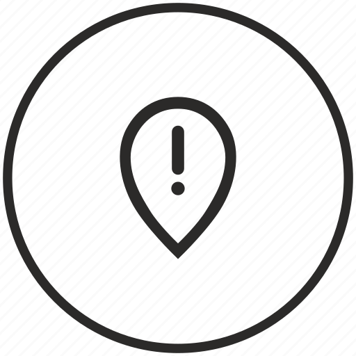 attention, geo, location, pointer, warning icon