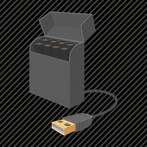 cartoon, cigarette, e-cigarette, nicotine, usb, vapor, vaporizer icon