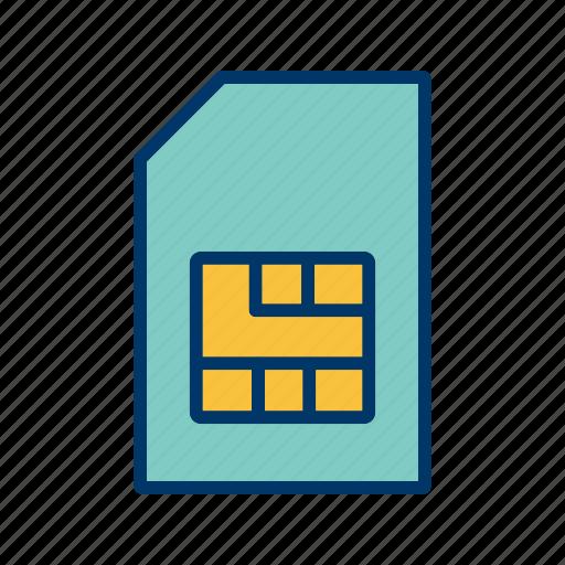 mobile sim, sim, sim card icon