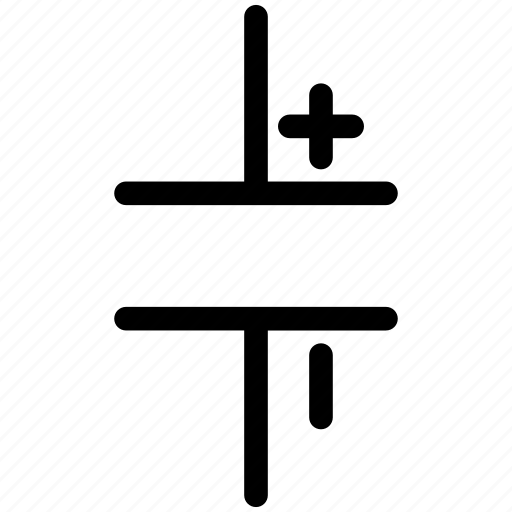 capacitor, polarized capacitor icon
