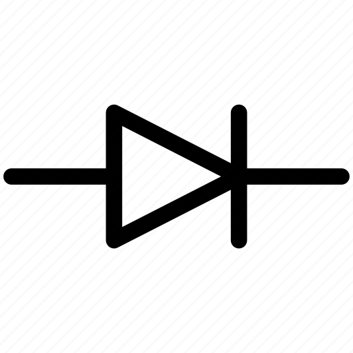 diode, diode sign, diode symbol icon