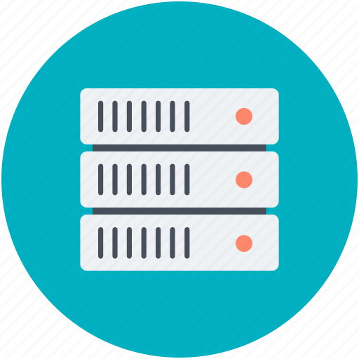 database sharing, information access, server hosting, server rack, shared info icon