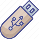 data stick, disk device, flash, flash drive, universal serial bus icon