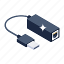 portable adapter, cable cord, usb cable, data cable, usb cord icon
