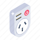receptacle, electrical outlet, switchboard, power socket, wall socket icon