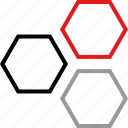 hex, hexagons, three icon
