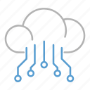 circuit, cloud, database, technology icon