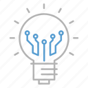 bulb, circuit, idea, solution, technology icon