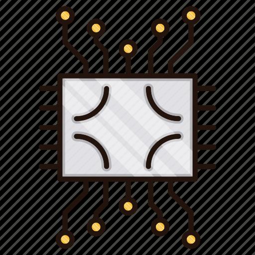 circuit, electronics, processor icon