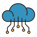 circuit, cloud, data, electronics, processor, technology icon