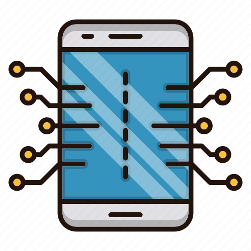 circuit, electronics, mobile, processor icon