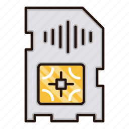 card, circuit, electronics, processor, sim icon