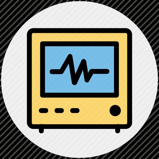 ecg, ecg machine, electrocardiograph, heart checkup, heart rate machine icon