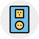 electric, energy, outlet, plug, socket, switch plug icon