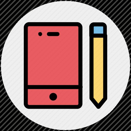 iphone, mobile, pencil, phone, smartphone, write icon