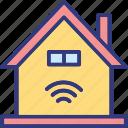 house, wifi fidelity, wifi signals, wifi zone icon