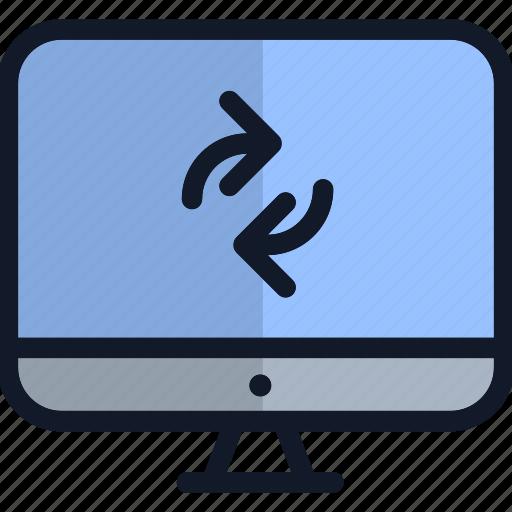 computer, electronics, monitor, refresh, restart, technology icon