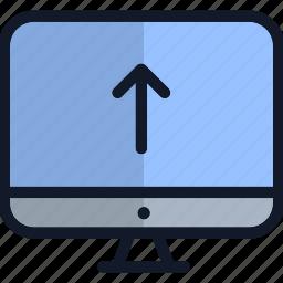 computer, electronics, monitor, technology, up arrow icon