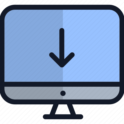 computer, down arrow, electronics, monitor, technology icon