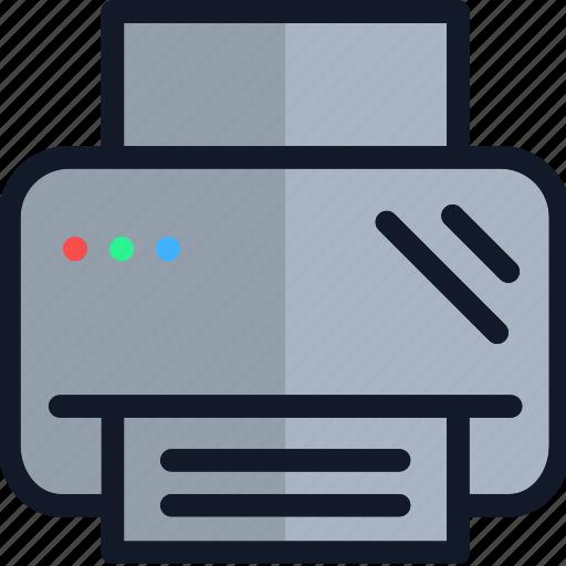 electronics, equipment, printer, technology icon