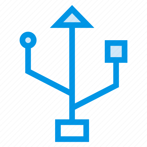 cable, data, device, storage, technology, usb icon