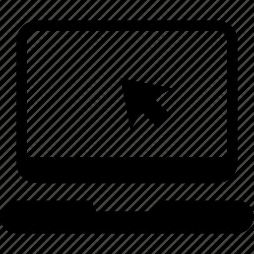arrow, click, internet, laptop, online shopping icon icon