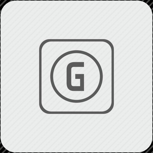 g, key, keyboard, letter icon