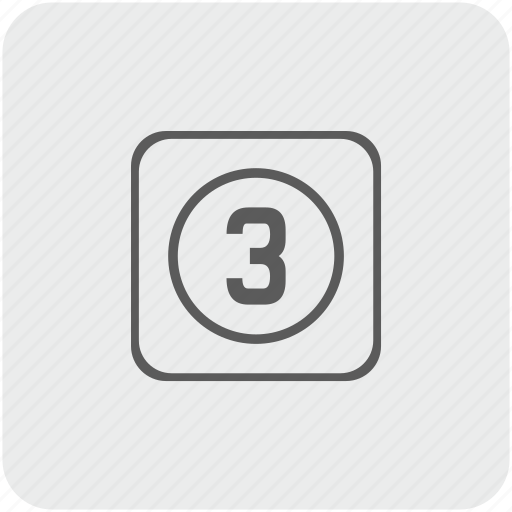 key, keyboard, number, three icon