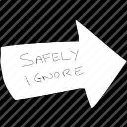 arrow, cartoon, funny, ignore, irrelevant, pointer, simplediagrams icon