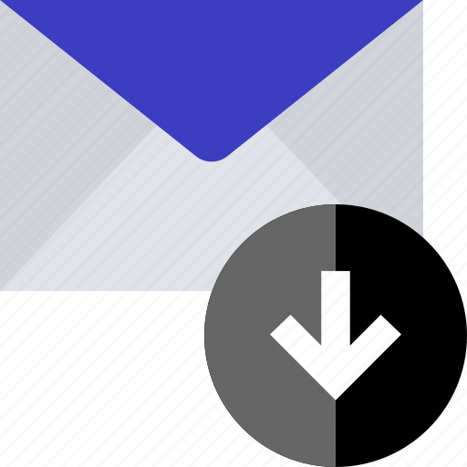 arrow, down, download, email icon