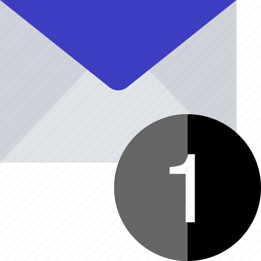email, mail, number, one icon
