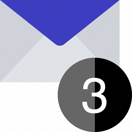 email, notification, number, three icon