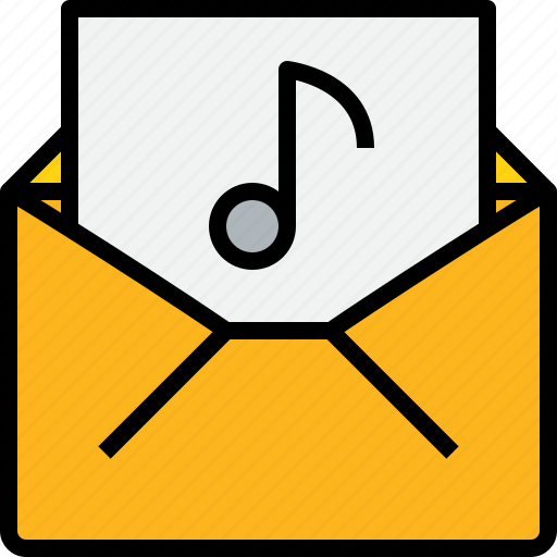 address, communication, information, mail, mailbox, music, open icon