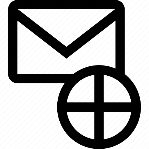 cross, envelope, mail icon