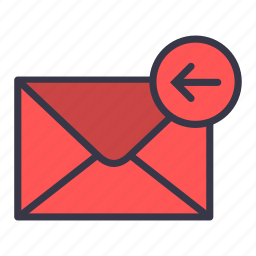 arrow, back, backword, email, left, mail, message icon
