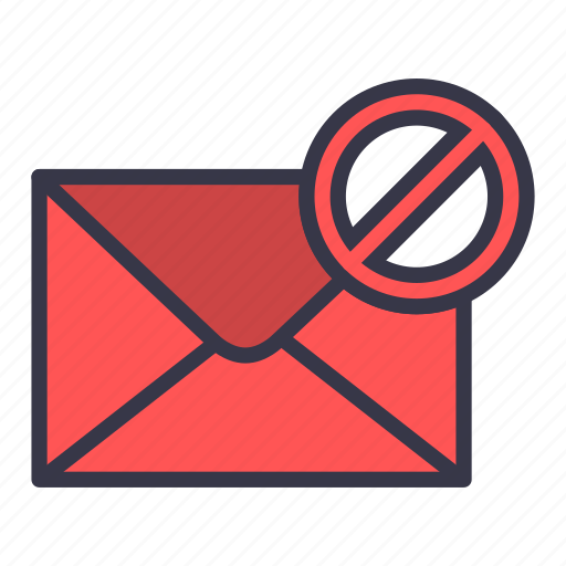 block, cancel, email, envelope, letter, mail, message icon