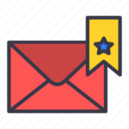 bookmark, email, envelope, letter, mail, message, star icon