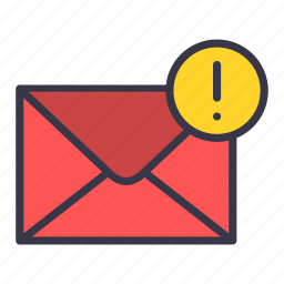 alert, attention, email, envelope, mail, message, warning icon