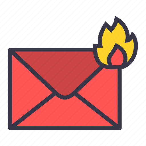 burn, email, fire, hot, mail, message, top-priority icon