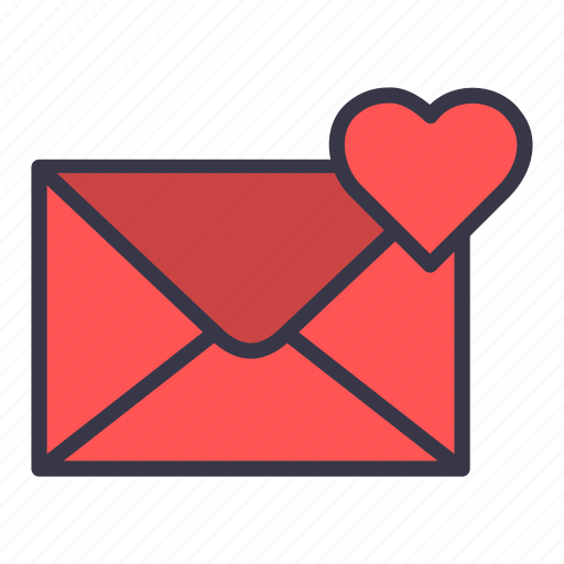 email, envelope, heart, letter, like, mail, message icon