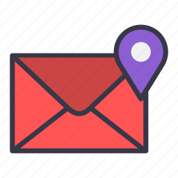 email, envelope, location, mail, map, message, pointer icon