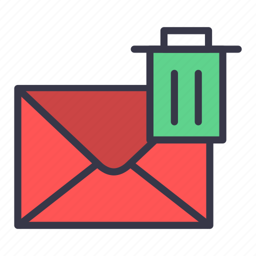 delete, email, envelope, letter, mail, message, trash icon