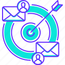 arrow, business, mail, message, people, strategy, target icon