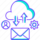 cloud mail, cloud service, cloud storage, download, email, share, upload icon