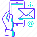 chat, email, hand, mail, message, mobile icon