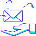 communication, email, hand, mail, message, receive icon