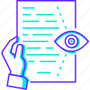 document, eye, paper, read, reading, text icon