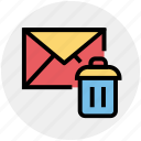 dustbin, email, envelope, letter, message, remove icon