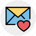 envelope, favorite, heart, letter, mail, message icon