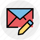 email, envelope, letter, message, pencil, writing icon